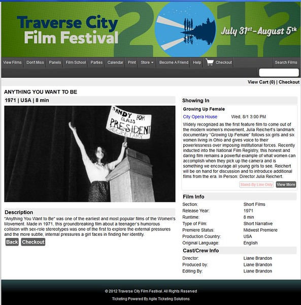 Anything You Want To Be - Traverse City Film Festival 2012