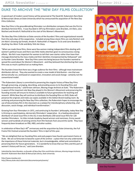 New Day Films archived at Duke University
