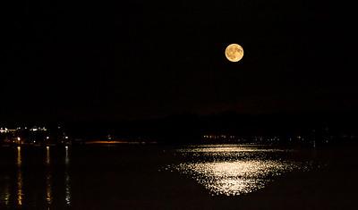 harvest moon over Canandaigua Lake