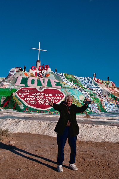 Leonard Knight, the creator of Salvation Mountain, hamming it up for the cameras.  2012