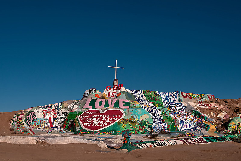 Salvation Mountain.  A monument conceived and constructed by Leonard Knight over a 20 year period.   Mr. Knight is now 90 years old and unable to live near his mountain.