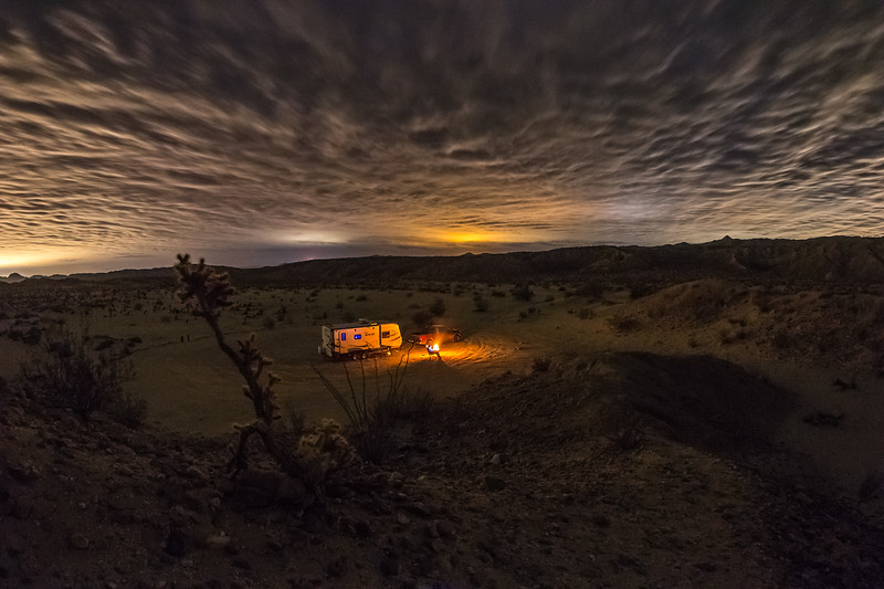 A single frame from tonight's cloudy campsite campfire cactus time lapse