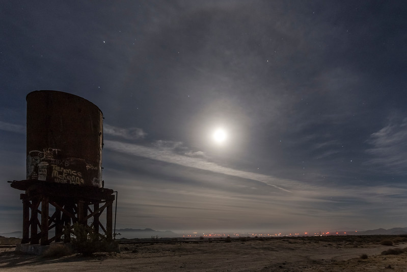 Old Railroad Water Tower and 22° Moon Halo at Dos Cabezas Siding in the Anza-Borrego Desert