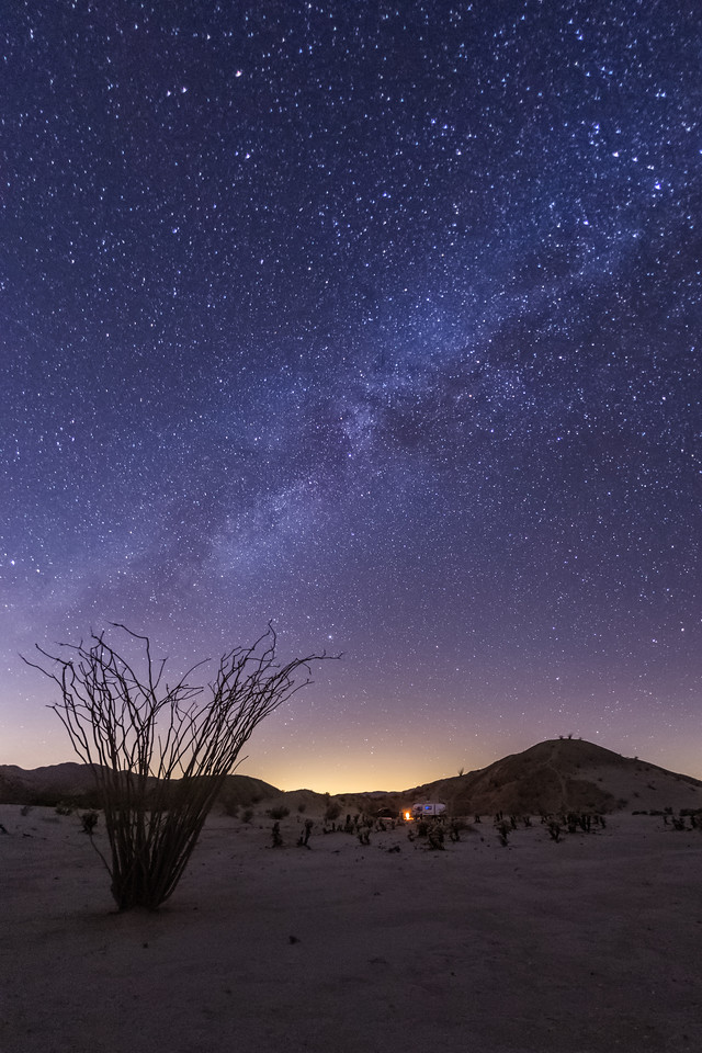 Camping on a Calm Clear Cold and Quiet Night in the Anza-Borrego Desert