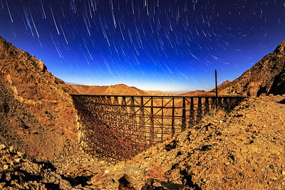 Star Trails Over the Goat Canyon Trestle Illuminated by a Full Moon