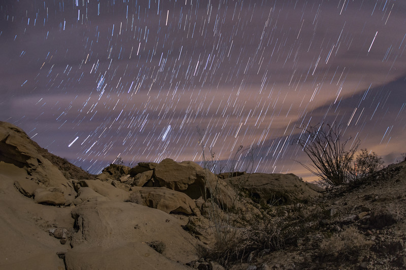Partly Cloudy Star Trails at the Anza-Borrego Wind Caves