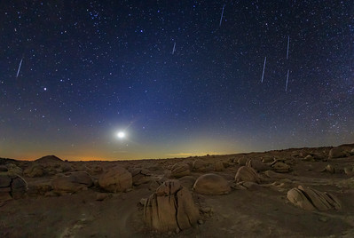 Some Geminids and the Moon Over Alien Landscape