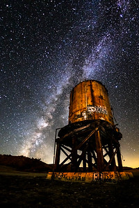Milky Water: Milky Way and Old Railroad Water Tower