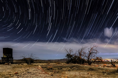 Railroad Water Tower, Star Trails, and Smoketrees at Dos Cabezas Siding in the Anza-Borrego Desert