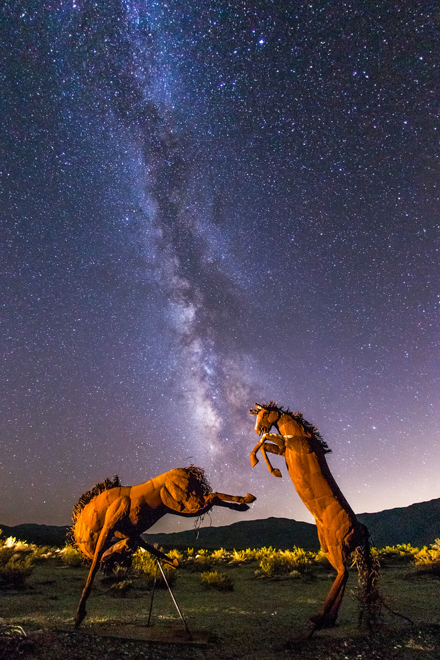 Galleta Meadows horse sculptures and the Milky Way
