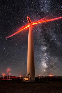 Wind Turbines Under the Stars