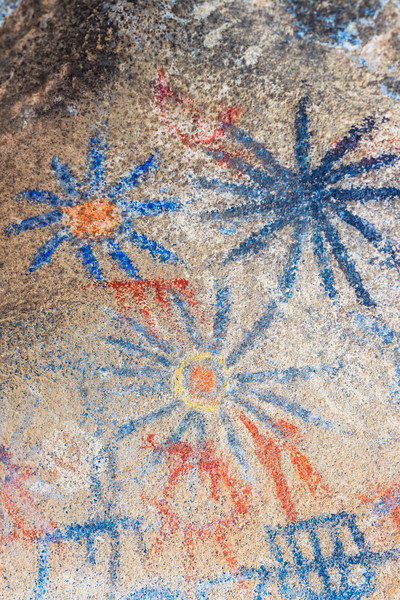 Hi-Res Photo of the Pictographs Inside the Blue Sun Cave In the Anza-Borrego Desert