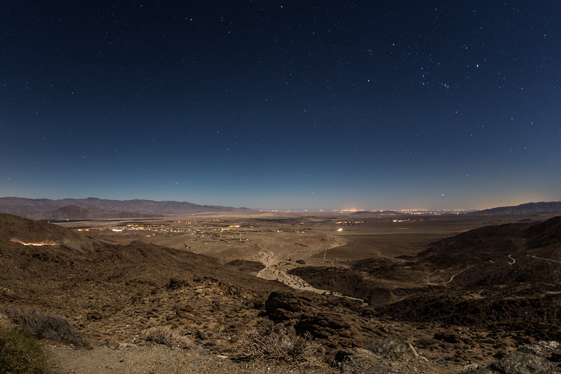 Borrego Springs at nighttime during a nearly full moon.