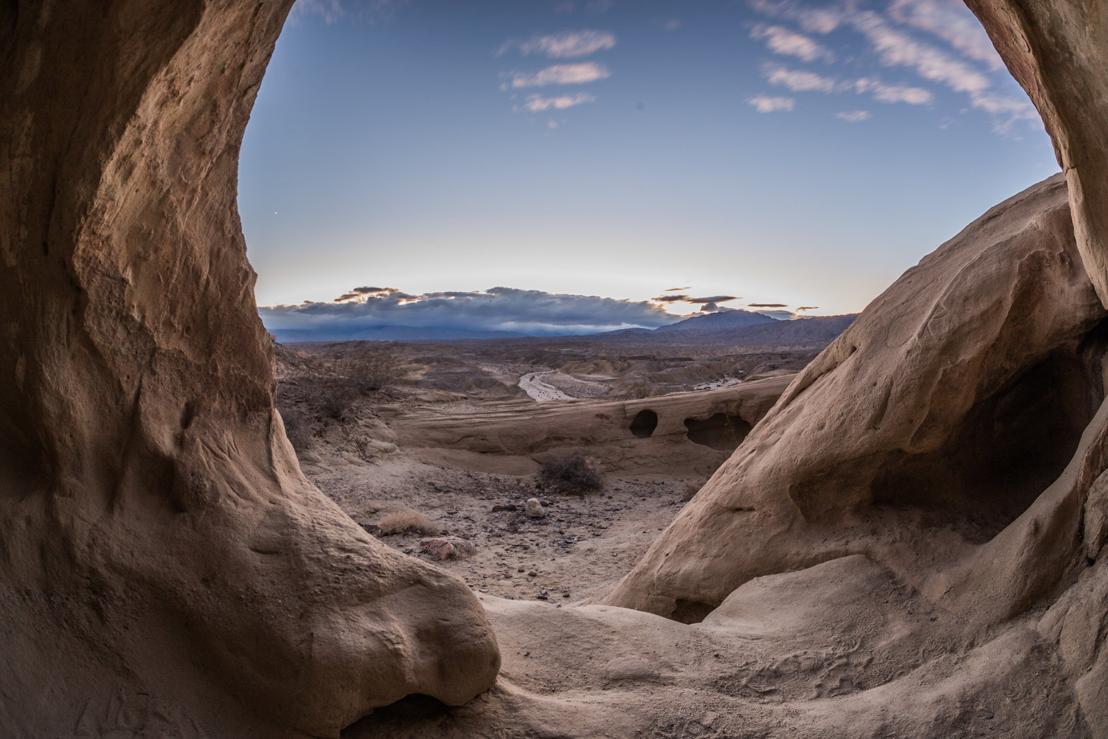 Looking Through Some Sandstone Wind Caves in the Anza-Borrego Desert