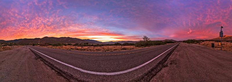 Sunset over Highway 78 just below the Banner Grade in Anza-Borrego Desert State Park