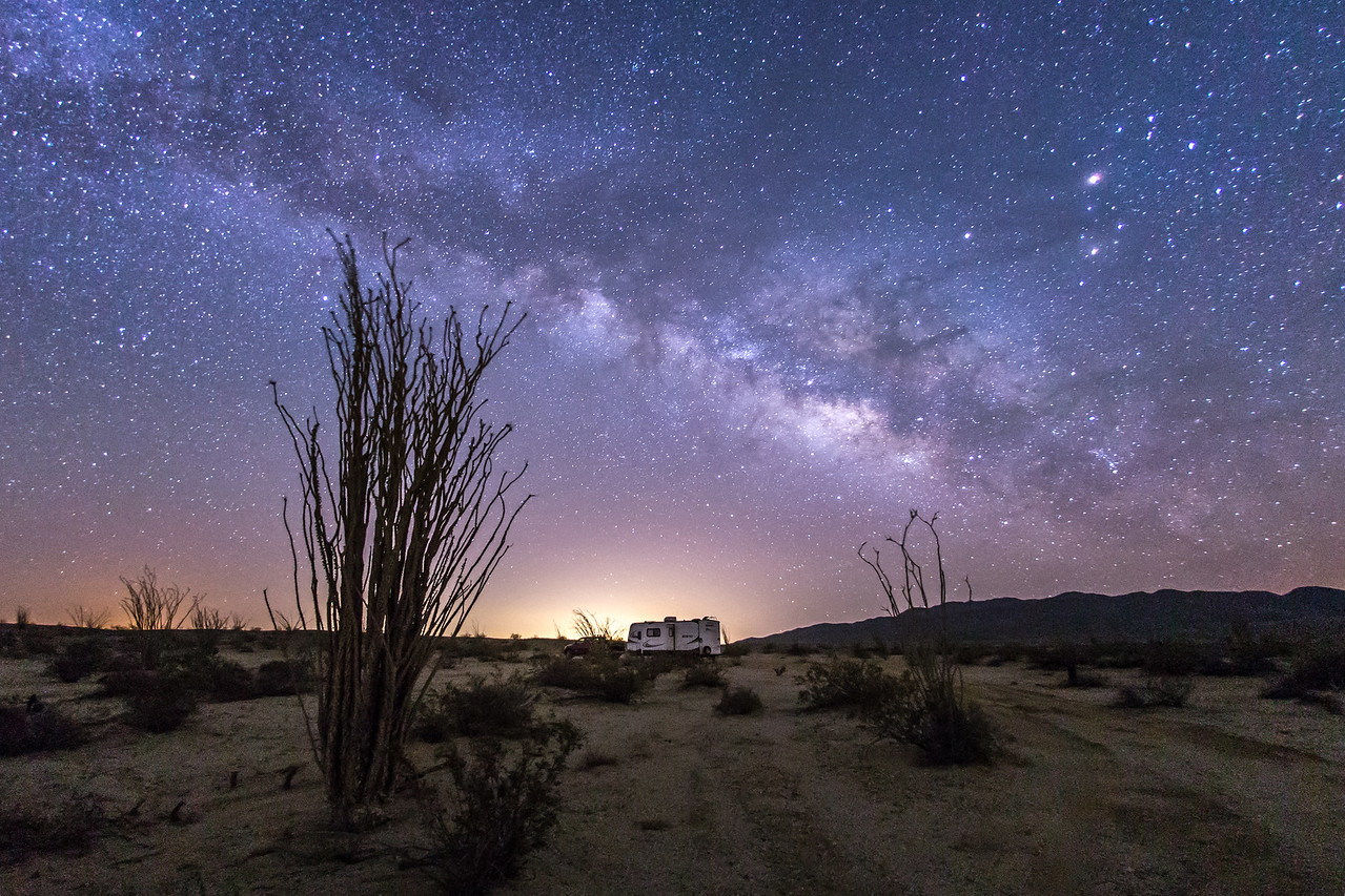 Camping among the ocotillo and under the Milky Way