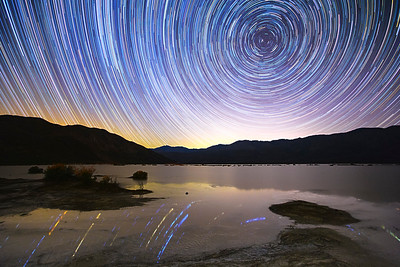 Starry Night Over Clark Dry Lake in Wet Mode