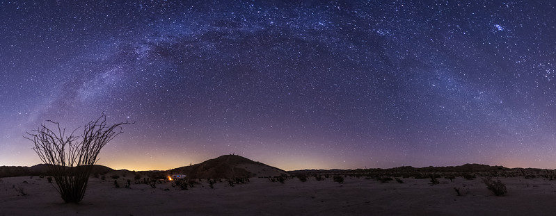 Camping on a Calm Clear Cold and Quiet Night in the Anza-Borrego Desert. Panoramic Version.