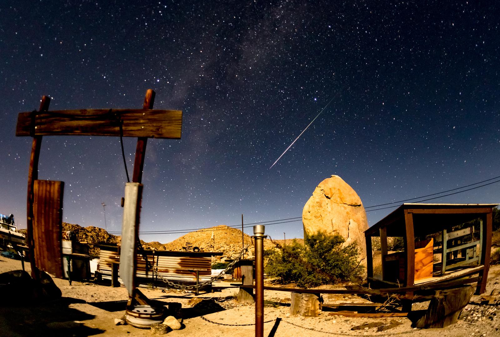 Perseid Meteor Over Coyote's Rattlesnake Saloon