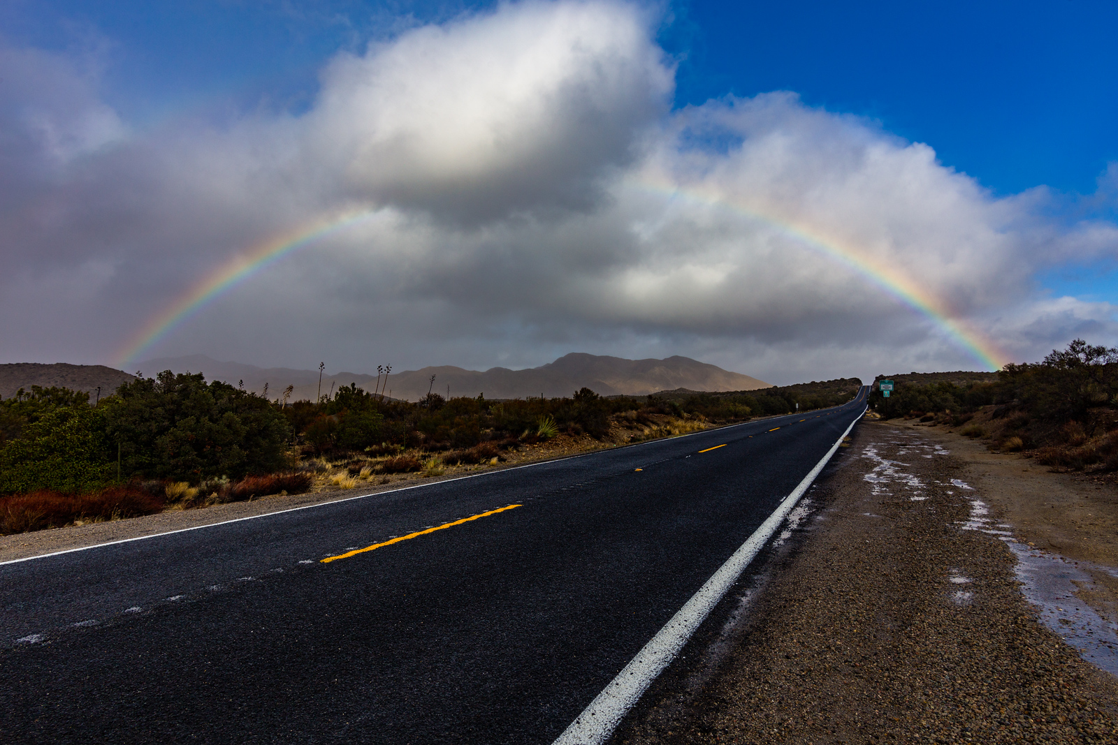 Another shot of a Rainbow over Highway 78 in the Anza-Borrego Desert