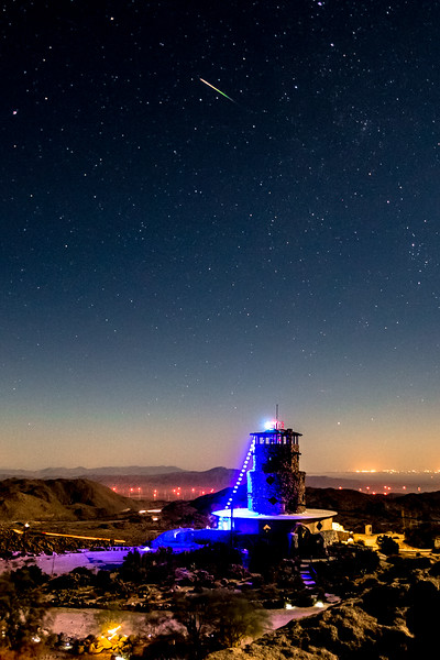 Adorable Little Colorful Perseid Meteor Over Desert View Tower