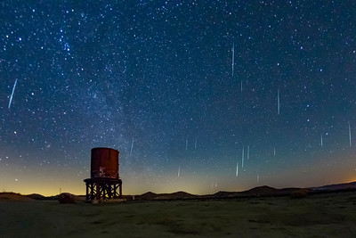Geminid Meteor Shower 2017 Over Railroad Water Tower at Dos Cabezas Siding