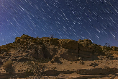 Star Trails In The Anza-Borrego Desert Under An 85% Moon