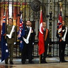 The flags of Australia, New Zealand, Turkey and the United Kingdom before they are borne through the Abbey