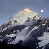 moon over the south ridge of aoraki mt cook