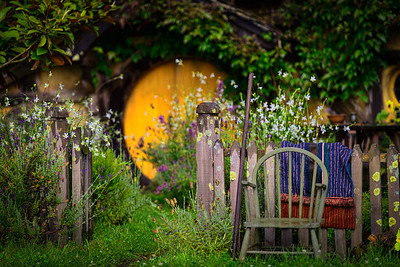 A seat beside The Vegetable Garden Colours of Hobbiton Movie Set New Zealand