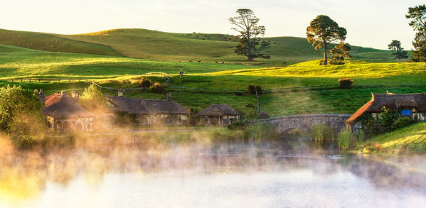 Green Dragon Sunrise Hobbiton Movie Set Matamata New Zealand