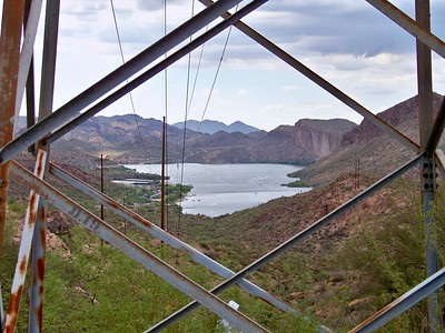 View of Canyon Lake thru historic transmission tower (2009)