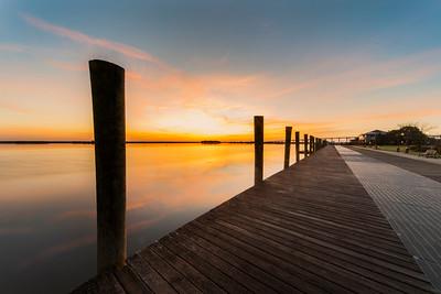 Apalachicola Sunrise over Dock and Bay