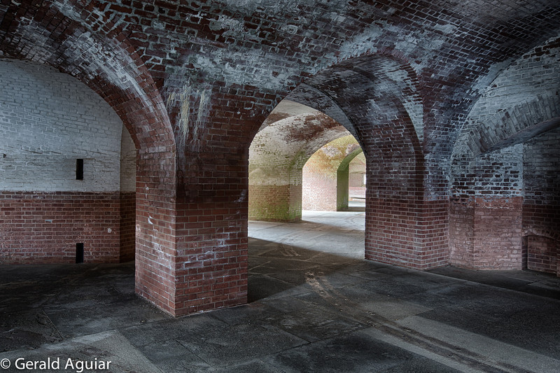 This is the arch way located on the second floor of the Fort.  I guess it was painted white at some point in the past.