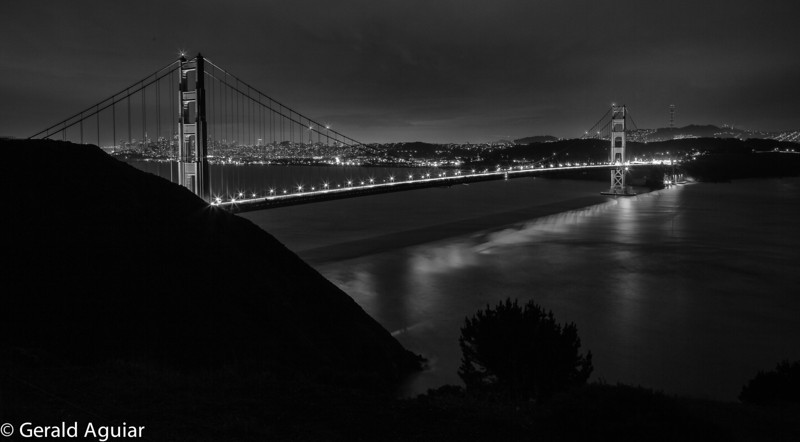 Last shot of the evening of the Golden Gate.  The black and white conversion lends a lot of detail for this 30 second exposure.