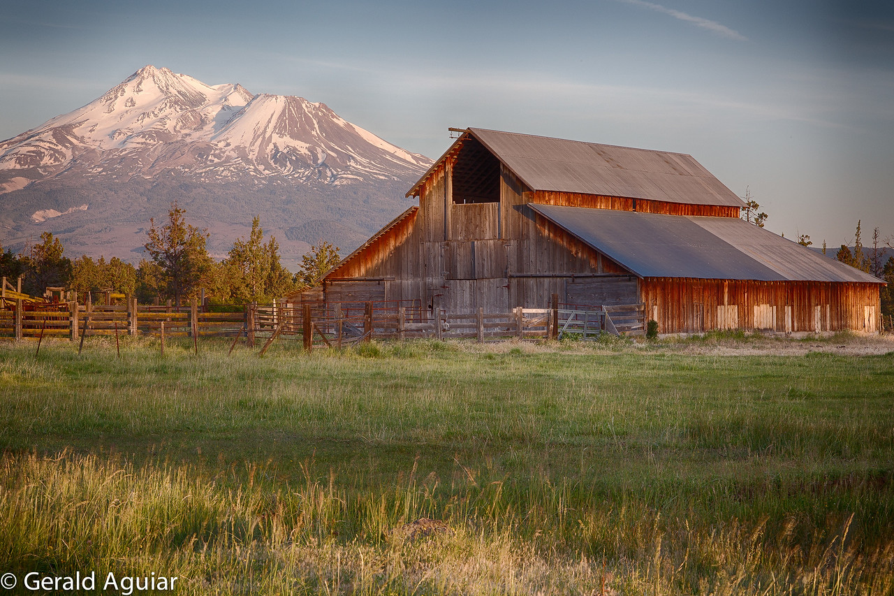 This barn and Mt. Shasta photo was part of our evening shoot on day 1.  We were hoping for clouds but unfortunately mother nature did not help us out.