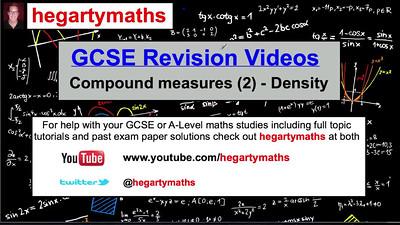 GCSE Maths Revision - Compound Measures (2) - Density
