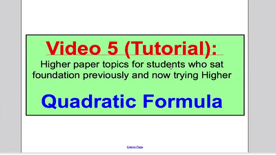 Quadratic Formula 1 (GCSE Higher Maths) Tutorial 5