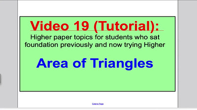 Area of Triangles 1 (GCSE Higher Maths) Tutorial 19