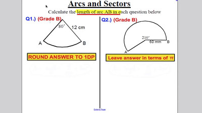 GCSE Sectors of Circles and Arc lengths