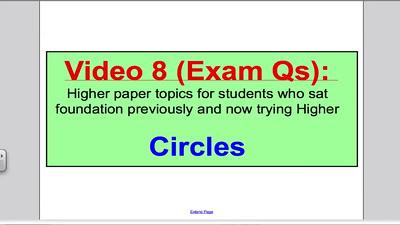 Circles 2 PART 1 (GCSE Higher Maths) Exam Qs 8