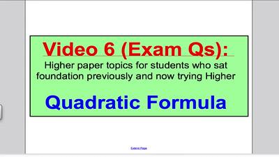 Quadratic Formula 2 (GCSE Higher Maths) Exam Qs 6