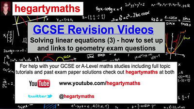GCSE Maths Revision - Solving linear equations (3) from geometry questions - PART 1