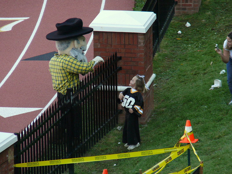 Yosef hangin' loose with the Jr. Mountaineer fans.