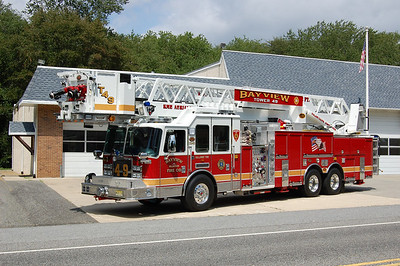 Bayview Fire Co. in Galloway Twp. Tower 26-49, a 2008 KME Predator 2000 / 250 / 40 / 102'.  Photo by Chris Tompkins