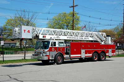 Paramus Ex Truck 1 1984 Hahn 100' Tower Ladder  Photo by Chris Tompkins