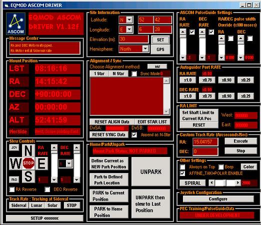 Het control panel van de EQMOD ASCOM driver
