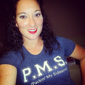 PMS (Packin' My Sidearm) Indigo tee / Photo Credit: Gun Girl Bree