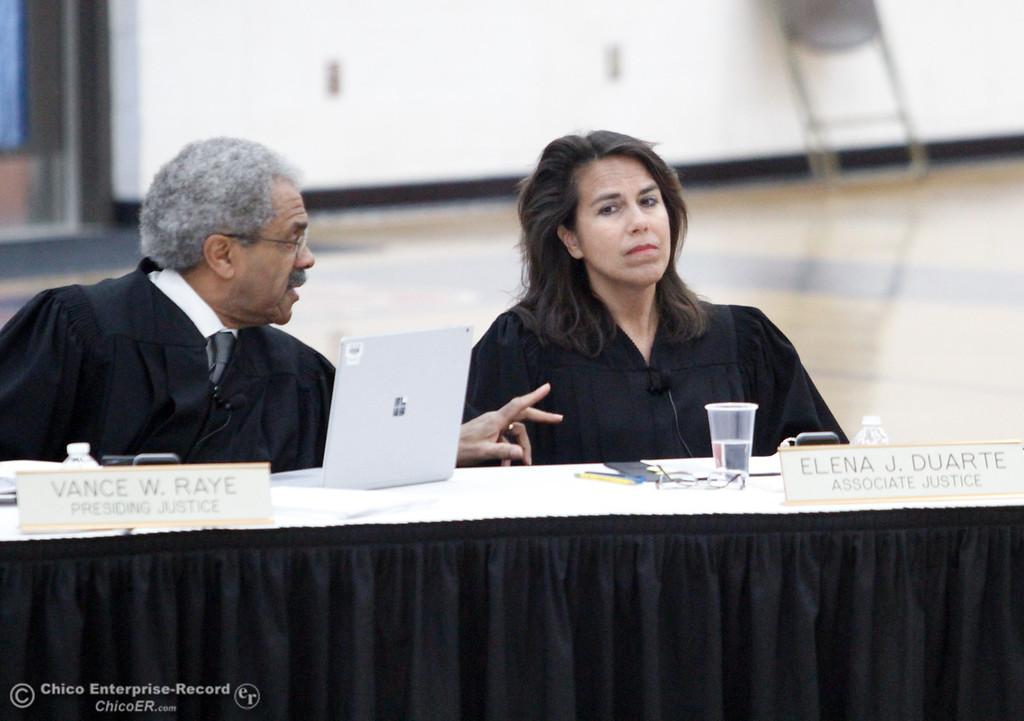 . Presiding Justice Vance E. Raye, left, and Associate Justice Elena J. Duarte, right, discuss a point as the Third Appellate Court of California reviews two cases Wednesday, April 25, 2018, in Oroville, California. The court heard oral arguments from lawyers at Las Plumas High School as part of  (Dan Reidel -- Enterprise-Record)