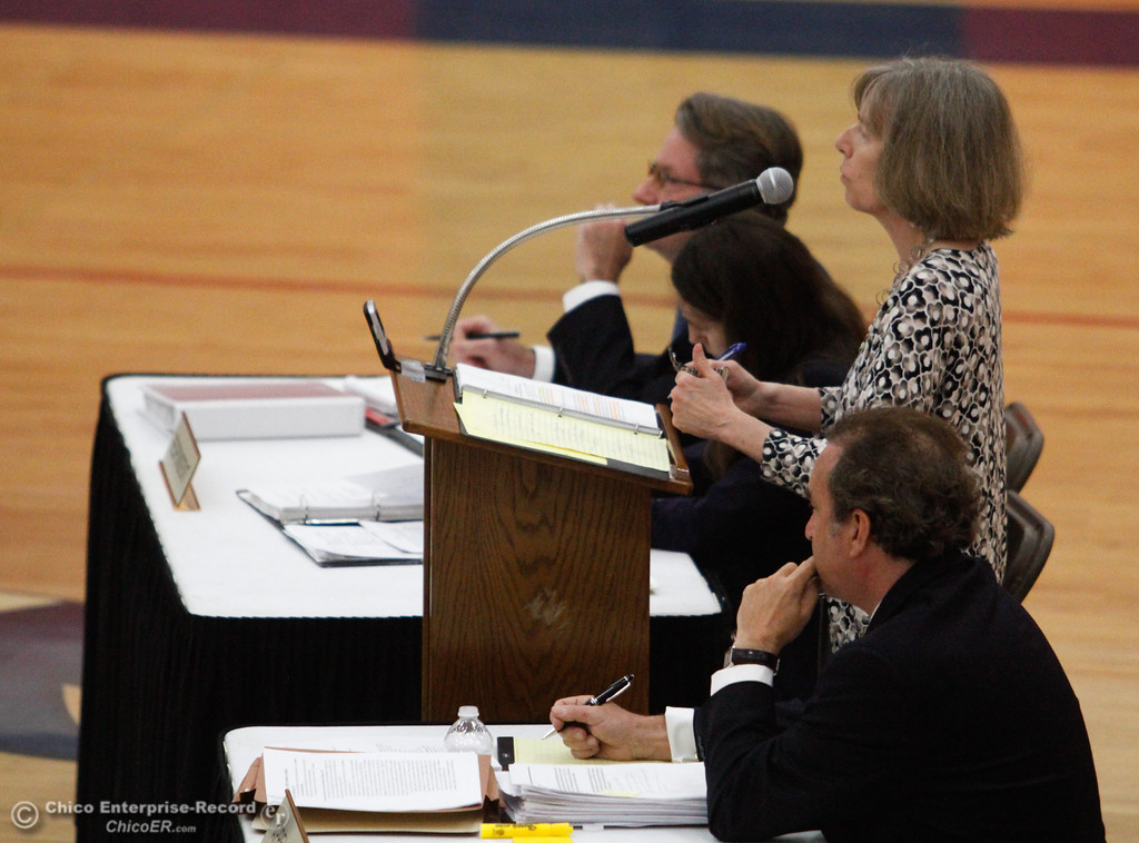 . The Third Appellate Court of California reviews two cases Wednesday, April 25, 2018, in Oroville, California. The court heard oral arguments from lawyers at Las Plumas High School as part of  (Dan Reidel -- Enterprise-Record)